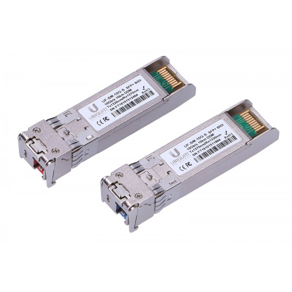 Ubiquiti UF-SM-10G-S-20 | SFP+ Module | UFiber, BiDi, 10Gb/s, LC/UPC, 1270nm/1330nm, Single mode, 20-pack